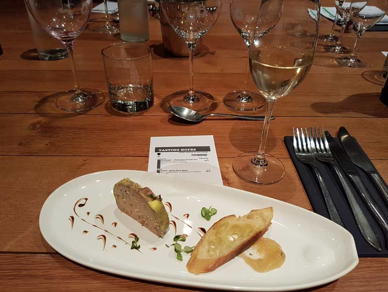 First course: foie gras terrine with Alcase Pinot Blanc