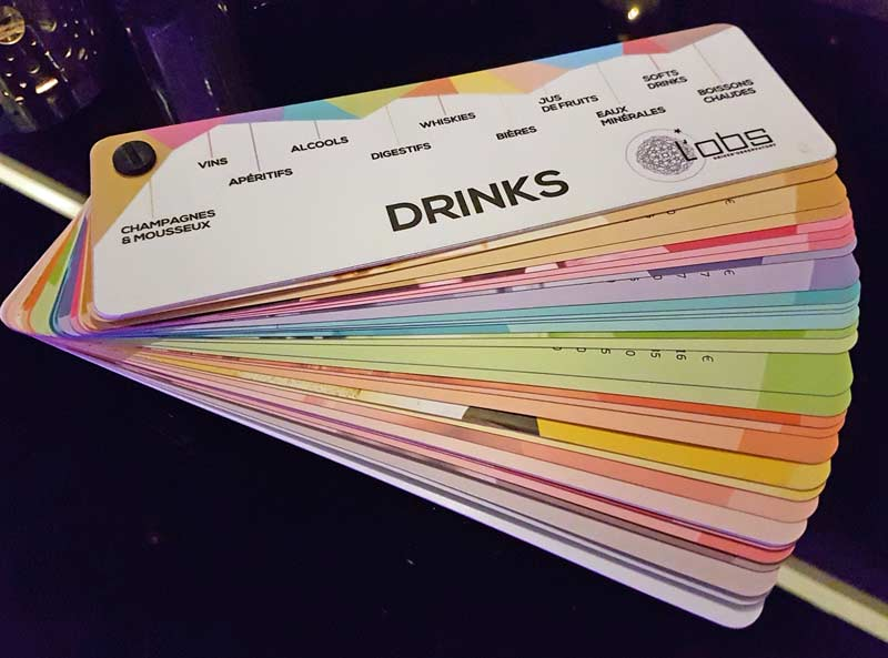 L'Observatoire's drinks menu fan deck