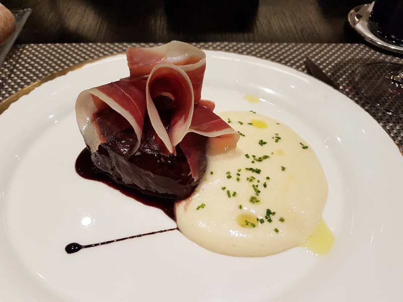 Filet with jamon and potato puree at Nu Restaurant