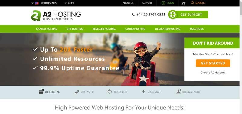 A2 Hosting (screenshot from A2 website)