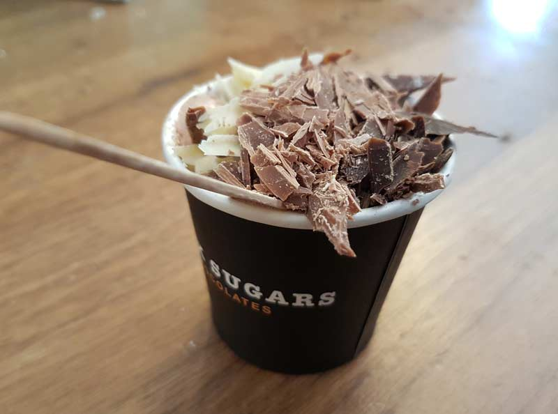 Hot chocolate complete with chocolate shards from Dark Sugar