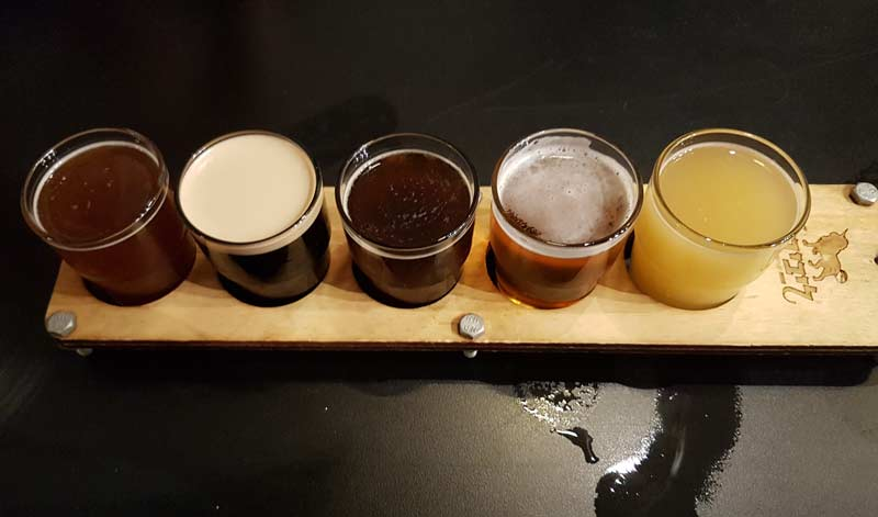 Taster beer tray at Libira in Haifa, Israel