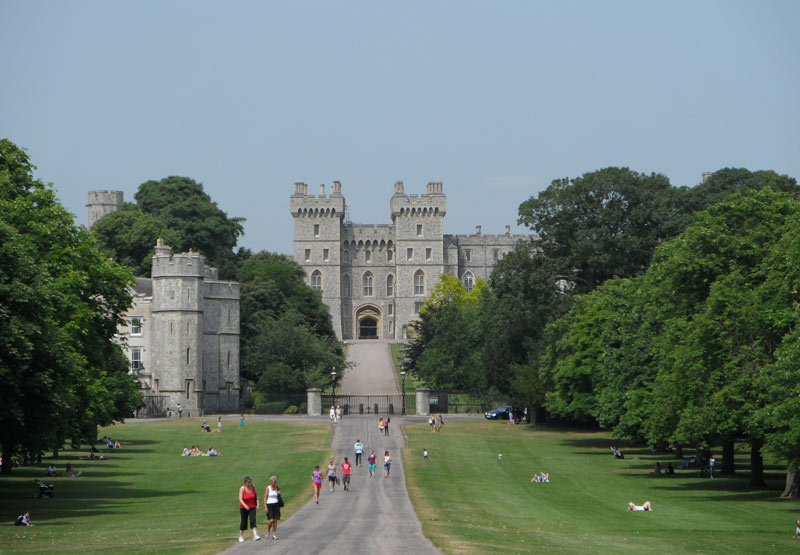 The long walk is a 3-mile-long path that begins at the castle.