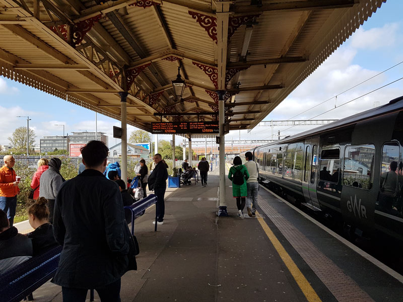 The train stops in Slough, where you get off and cross the platform.
