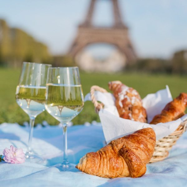 wine and croissants at the eiffel tower