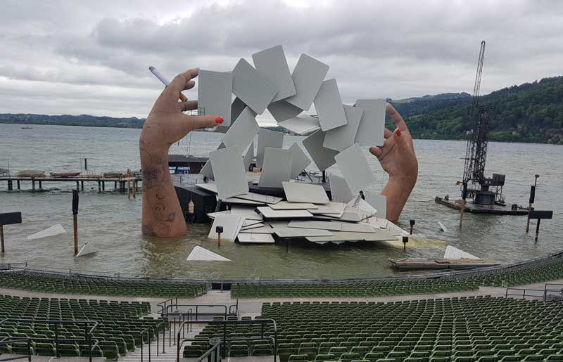 The set of the Bregenz Festival opera, Carmen.