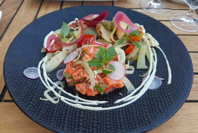 Salmon and spargel salad at Messer & Gradel