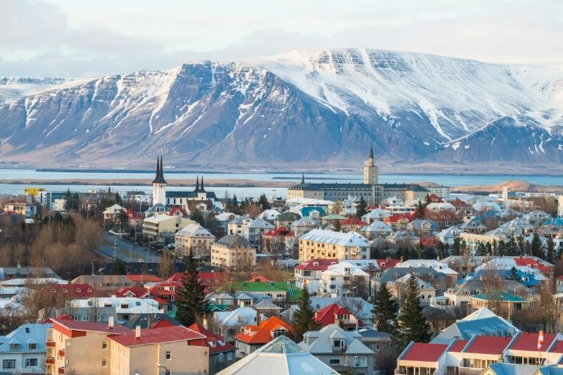 Reykjavik Town and Mountains