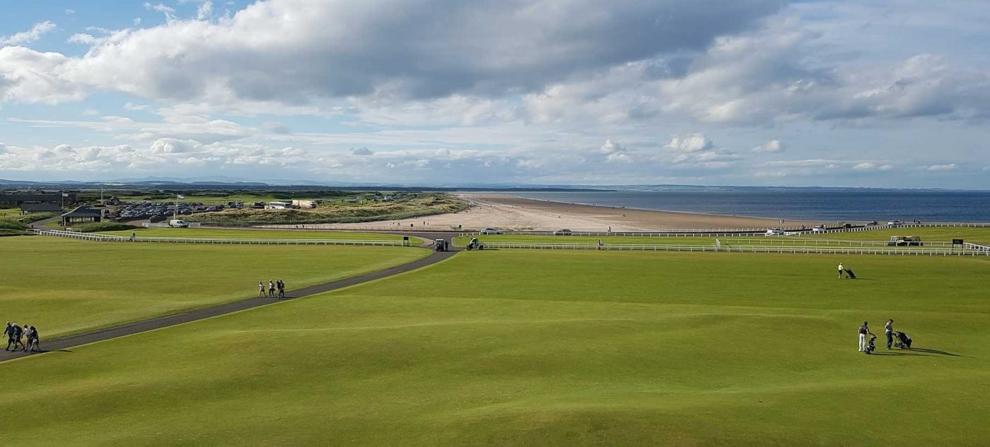 View of the ocean and golf course in St Andrews