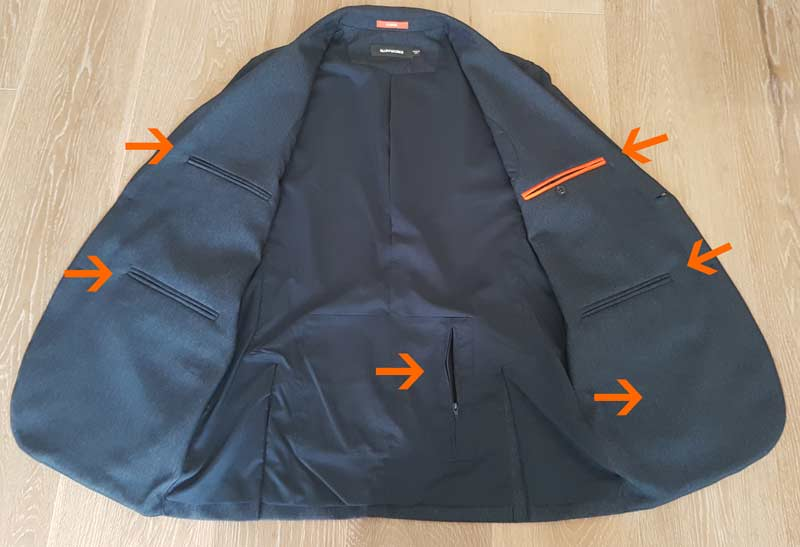 Travel blazer with many hidden pockets