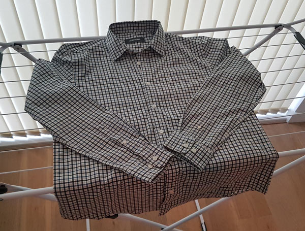 The shirt after line drying overnight