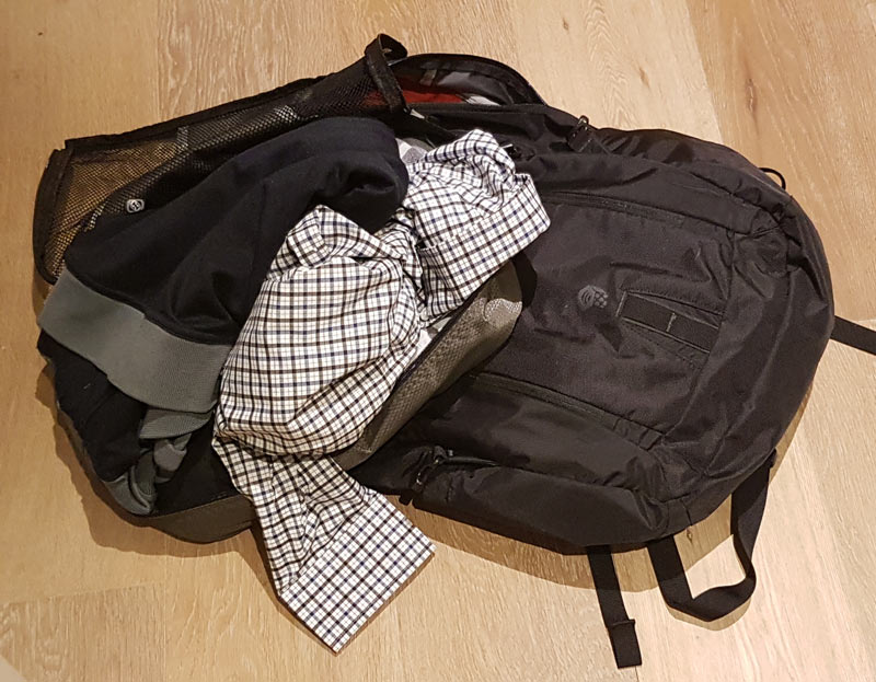 Bluffworks Performance Dress Shirt gets stuffed into bag