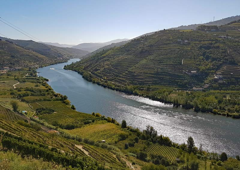 The Douro Valley with its steep hills and terraced vineyards.