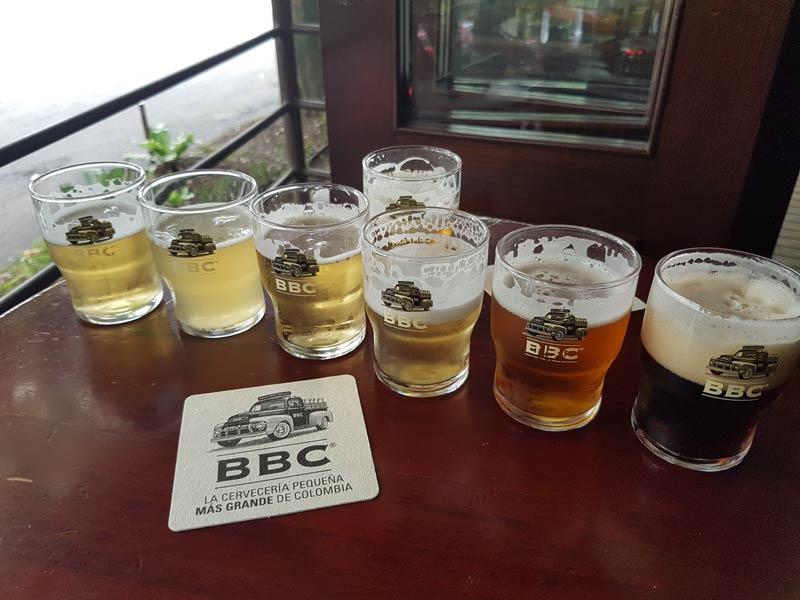 Bogota Beer Company taster sampling
