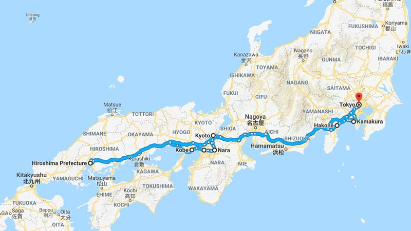 Map of Japan Itinerary