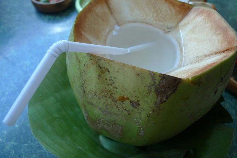 Buko juice in a coconut shell