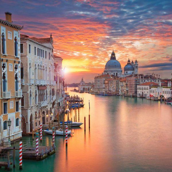 Venice waterway at sunset