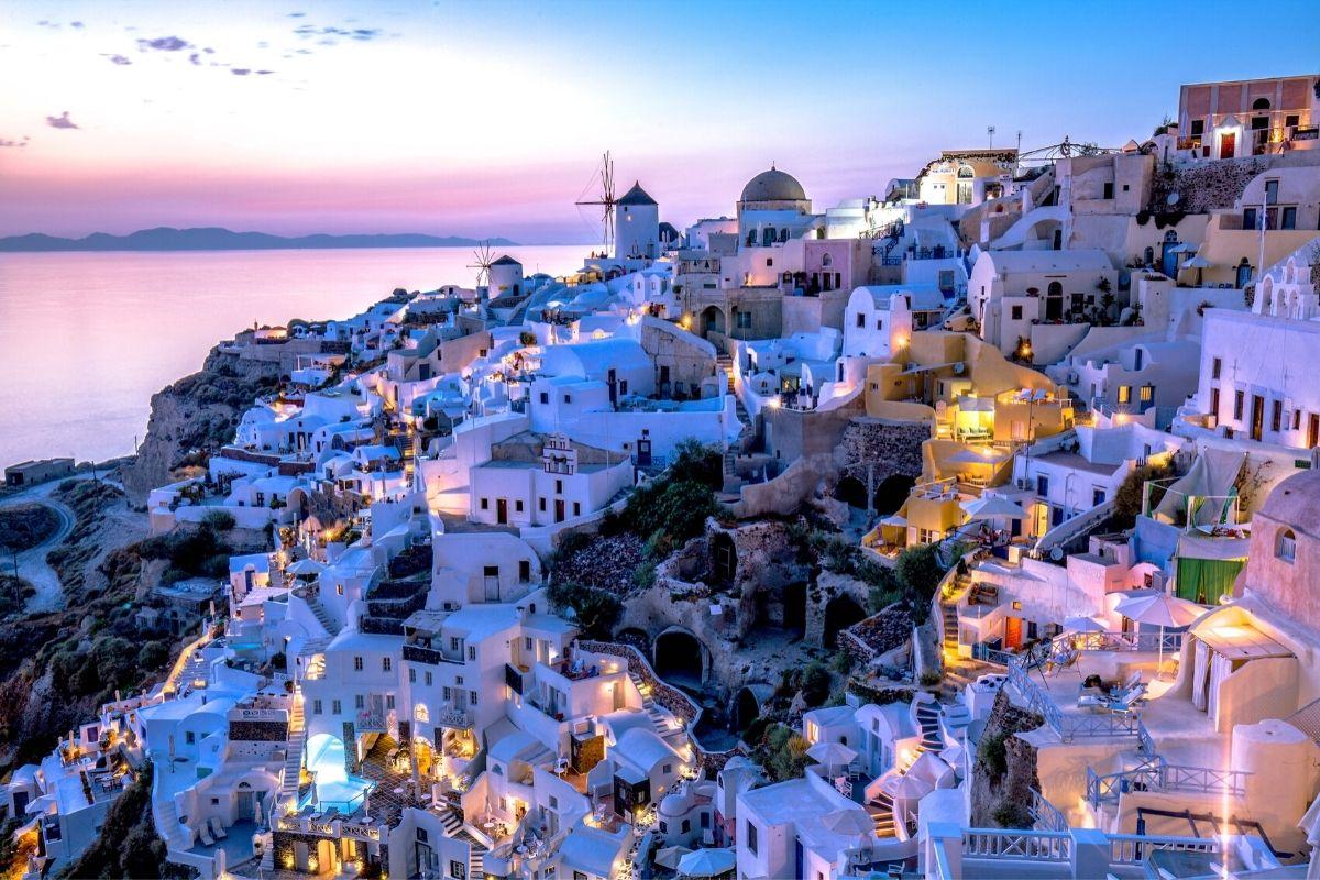 Santorini Greece at Dusk
