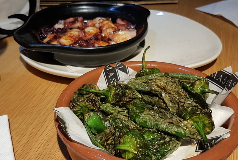 Padron peppers and pulpo a la Gallega