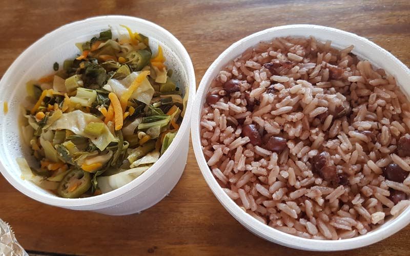 Jamaica rice and peas and sauteed greens