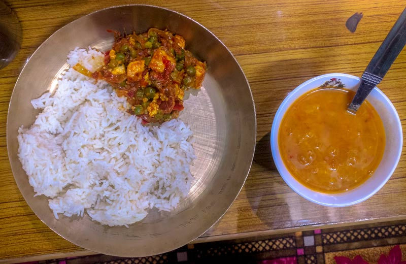 Staple Food of North - Rice, Daal and Paneer