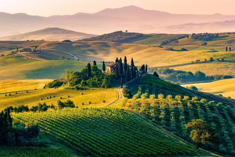 Tuscan Countryside view of Villa