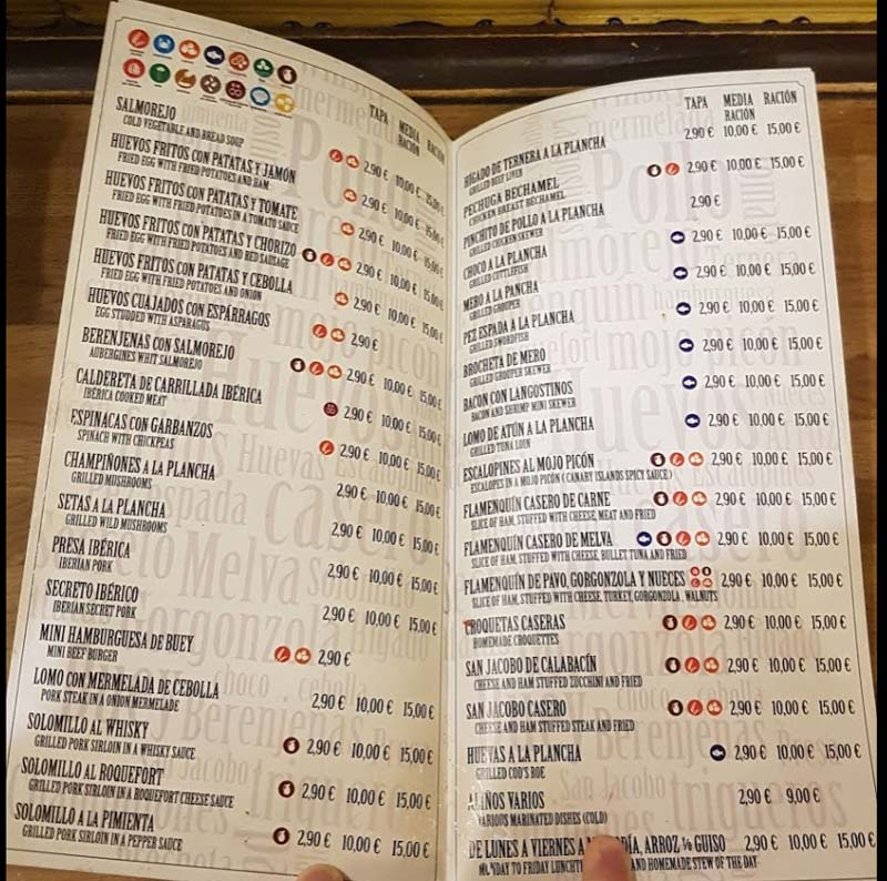 A Seville tapas bar menu