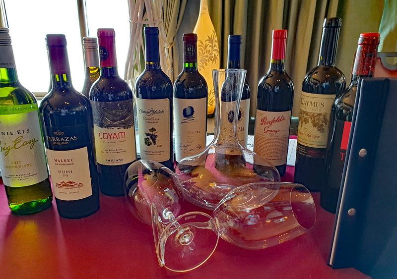 wines from the wine list