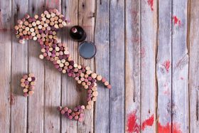 wine corks forming Italy