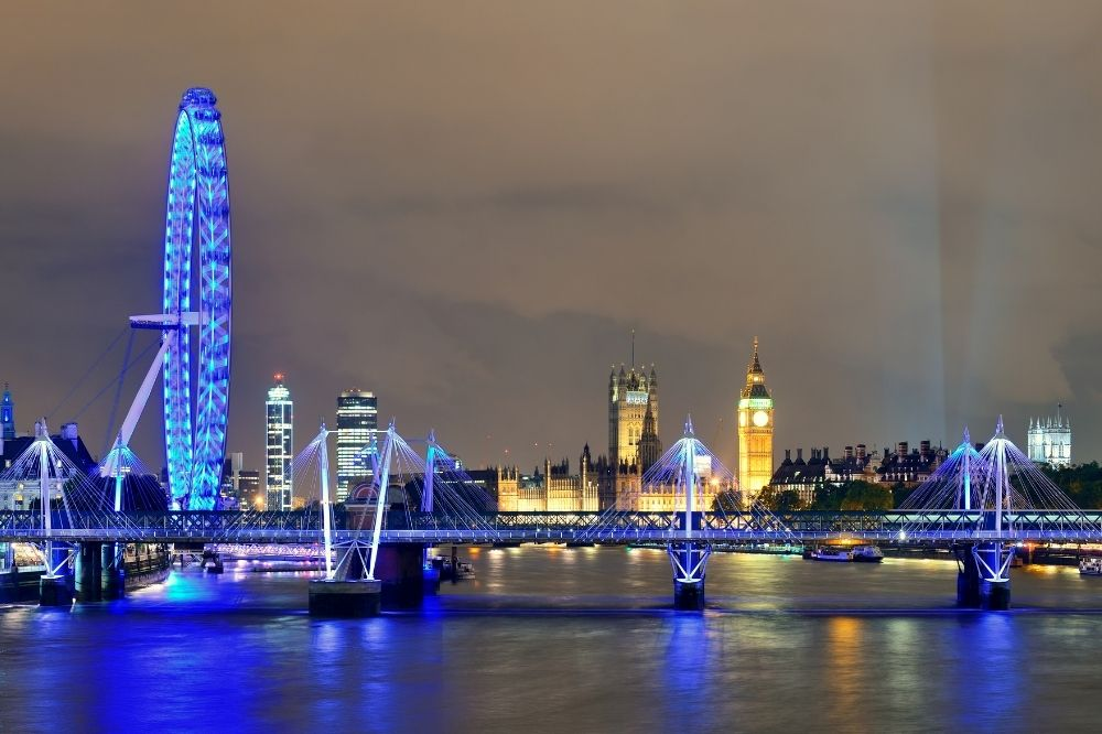 Night time on the Thames