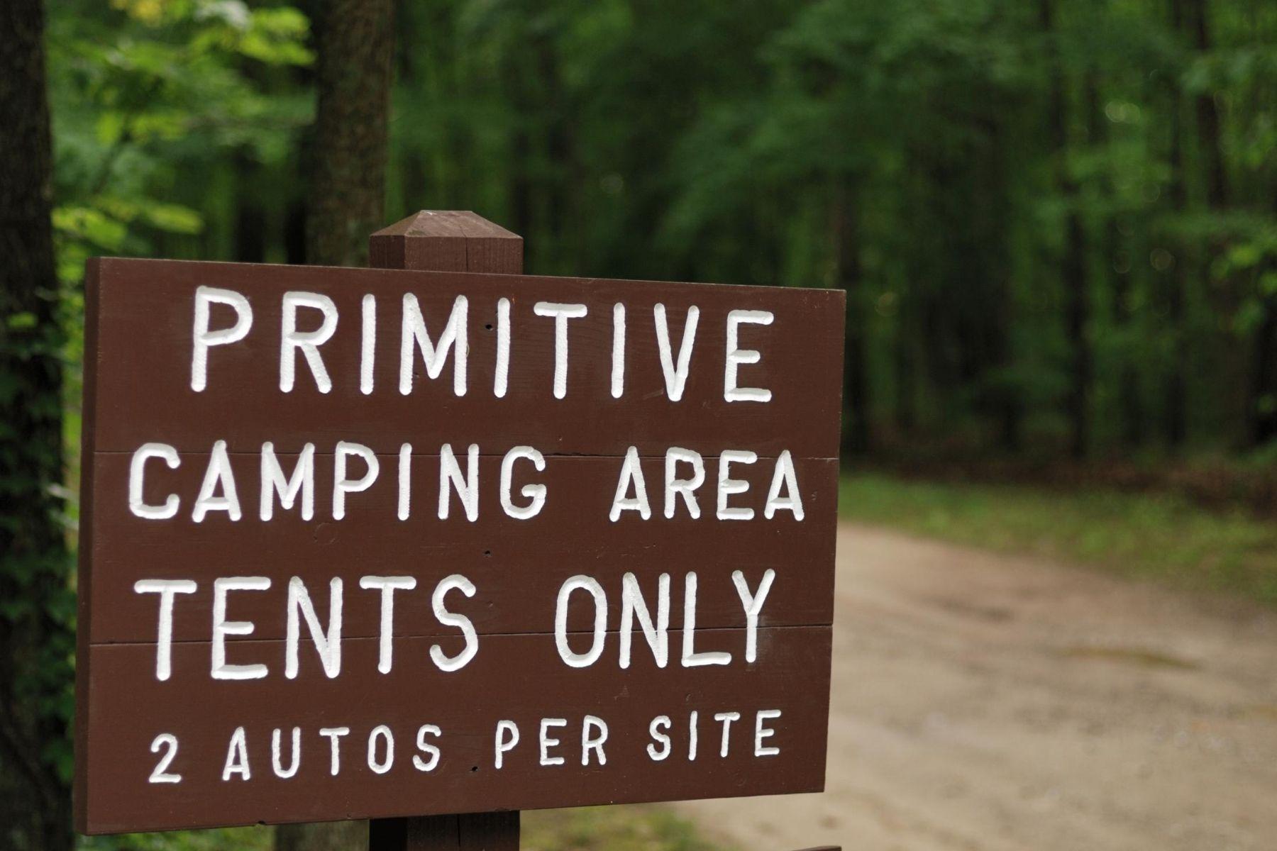 primitive camping sign