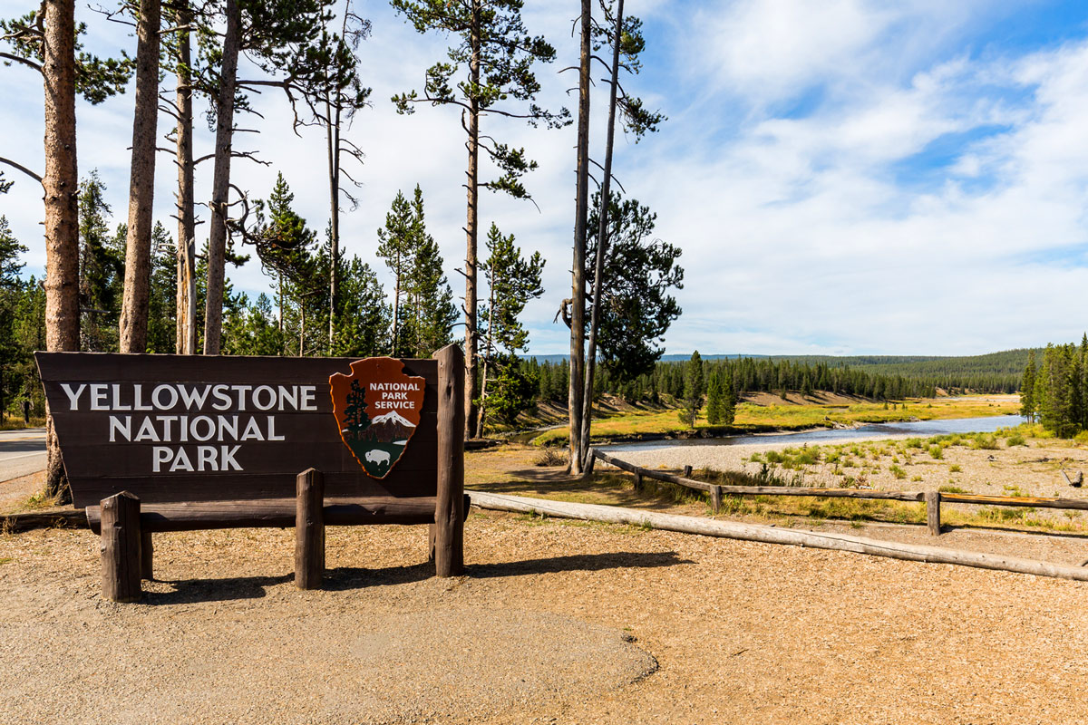 Yellowstone National Park sign with wilderness in the background