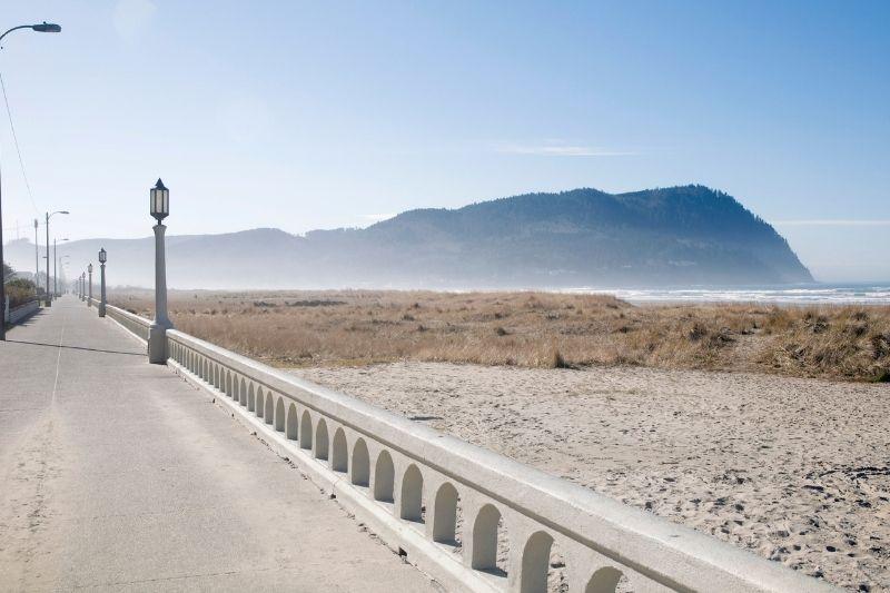 seaside oregon coast with fog