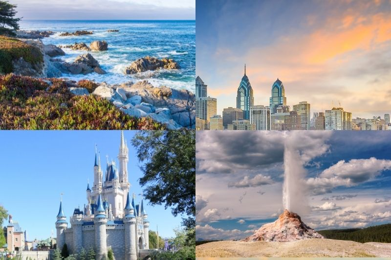 collage of us vacation destinations