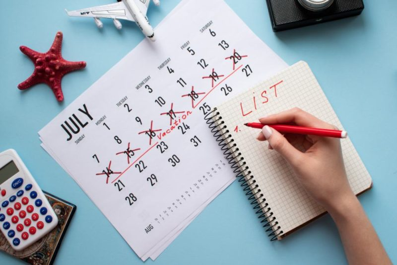 travel calendar and planning